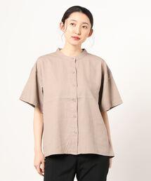 シャツ ブラウス ミント レーヨン リネン 冷感機能付き 5分袖スタンドカラーシャツ|ZOZOTOWN PayPayモール店