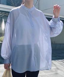 シャツ ブラウス 【バンドカラーシアーオーバーシャツ】ボリュームスリーブシャツ / ビッグシルエットシャツ ZOZOTOWN PayPayモール店