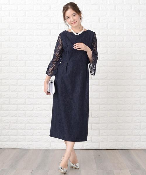 ドレス 開店記念セール 花柄総レースミモレ丈シンプルパーティドレス セール特別価格 ワンピース