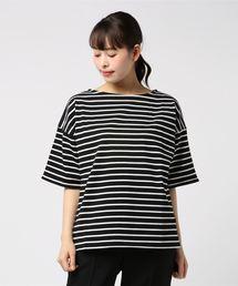 tシャツ Tシャツ 厚手ボーダードロップショルダーボートネックプルオーバー|ZOZOTOWN PayPayモール店