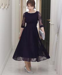 ドレス シアーカフスワンピースドレス大きいサイズ袖あり&ミモレ丈結婚式フォーマル|ZOZOTOWN PayPayモール店