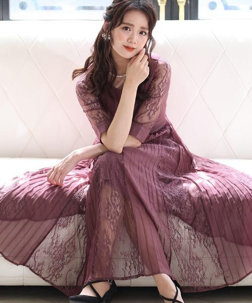 ドレス お気に入り 超目玉 シアーカフスワンピースドレス大きいサイズ袖あり ミモレ丈結婚式フォーマル