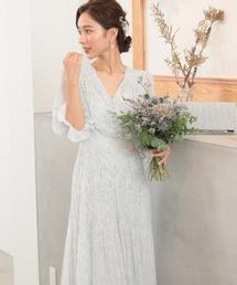 ドレス ドット柄 Vネック ロング丈 ワンピースドレス|ZOZOTOWN PayPayモール店