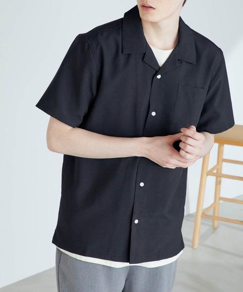 割引 シャツ 期間限定特別価格 ブラウス ポリトロリラックスオープンカラーシャツ