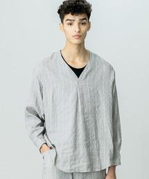 シャツ ブラウス 【HAVERSACK】ドビーストライプVネックシャツ MEN|ZOZOTOWN PayPayモール店