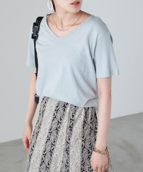tシャツ 信憑 売買 Tシャツ シンプルVネックTシャツ