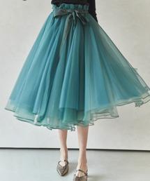 スカート 【LA BELLE ETUDE】Odette(ボリュームロングチュール×オーガンジー スカート)|ZOZOTOWN PayPayモール店
