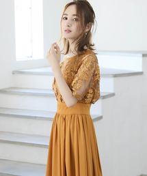 ドレス エンブロイダリレースレイヤードミモレ丈のワンピースドレス|ZOZOTOWN PayPayモール店