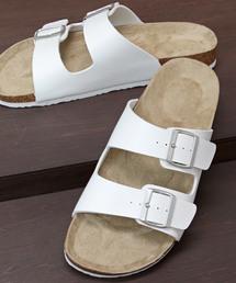 サンダル 足当たりの良い素材とフットベットで快適な履き心地のPUレザーダブルベルトサンダル|ZOZOTOWN PayPayモール店