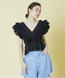 シャツ ブラウス LittleSunnyBite/リトルサニーバイト/frill short blouse|ZOZOTOWN PayPayモール店