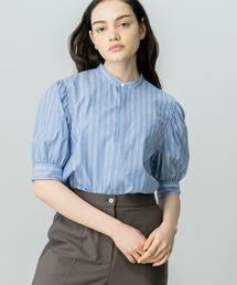 シャツ ブラウス 【HAVERSACK】〈別注〉ギャザースリーブシャツ BLUE WOMEN|ZOZOTOWN PayPayモール店