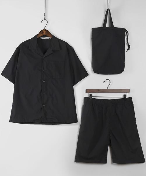セットアップ SET-UP 付与 オープンカラーシャツ エコバッグ 上質 ハーフパンツ