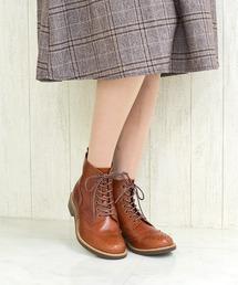 ブーツ ウイングチップレースアップショートブーツ/4308【日本製】大きいサイズ|ZOZOTOWN PayPayモール店