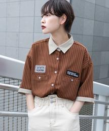 シャツ ブラウス ストライプパッチシャツ|ZOZOTOWN PayPayモール店