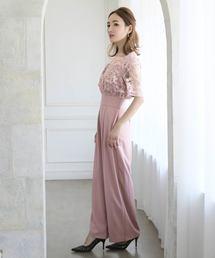 エンブロイダリレースレイヤードオールインワンのフレアパンツドレス|ZOZOTOWN PayPayモール店