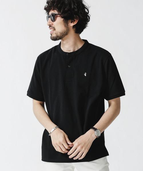 セール特別価格 ポロシャツ ランキングTOP10 《WEB限定》ワンポイント刺繍バンドカラーポロシャツ