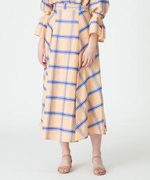 スカート MANTECOリネンチェックサイドタックフレアスカート|ZOZOTOWN PayPayモール店