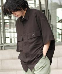 シャツ ブラウス MONO-MART×KANGOL リラックスレギュラー クレリックカラー オーバーサイズ ドレープ 1/2 sleeve CPOシャ|ZOZOTOWN PayPayモール店