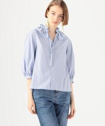 シャツ ブラウス コットンタイプライターストライプ ネックフリルシャツ|ZOZOTOWN PayPayモール店