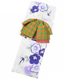 浴衣 変わり織り 女性浴衣セット 生成り 椿とつばめ+リボンタイプ作り帯 千鳥 橙×緑|ZOZOTOWN PayPayモール店