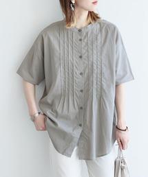 シャツ ブラウス フロントピンタックバンドカラーシャツ|ZOZOTOWN PayPayモール店