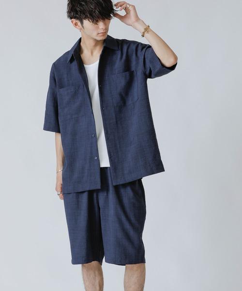 セットアップ 注目ブランド リネン麻調シャンブレー オーバーサイズ トレンド CPOシャツ 3点セット 巾着 ハーフパンツ