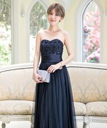ドレス 花模様ベアトップロングドレス|ZOZOTOWN PayPayモール店
