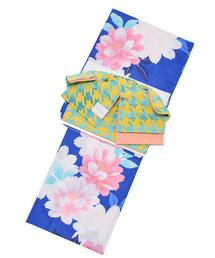 浴衣 変わり織り 女性浴衣セット ブルー 花+リボンタイプ作り帯 黄×青緑千鳥|ZOZOTOWN PayPayモール店