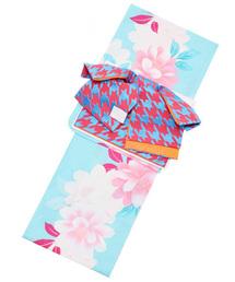 浴衣 変わり織り 女性浴衣セット アクアマリン 花+リボンタイプ作り帯 桃×青千鳥|ZOZOTOWN PayPayモール店