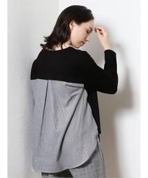 tシャツ Tシャツ エムエフエディトリアルレディース/m.f.editorial:Women ポンチ+布帛 長袖ゆるプルオーバーTシャツ|ZOZOTOWN PayPayモール店