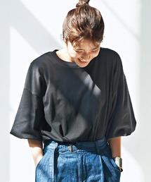 tシャツ Tシャツ 【佐藤かなさんプロデュース】 アヴェクモワ バルーンスリーブTシャツ〈黒〉|ZOZOTOWN PayPayモール店