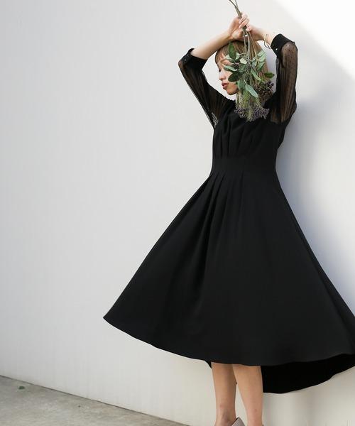 ドレス おしゃれ 海外限定 お袖チュール使いタックデザイン ワンピース テールラインドレス