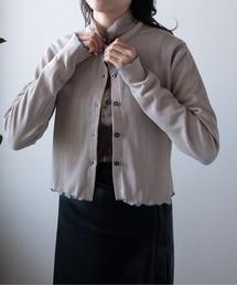 カーディガン 【PUBLUX/パブリュクス】リップル配色ステッチメローショートカーディガン|ZOZOTOWN PayPayモール店