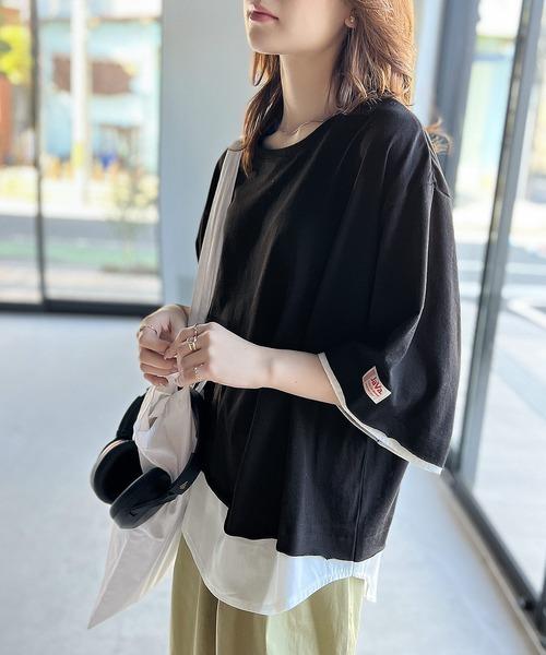 tシャツ Tシャツ 1枚でレイヤードコーデ オーバーのアイテム取扱☆ 重ね着風クルーネックTシャツ 半袖 格安SALEスタート