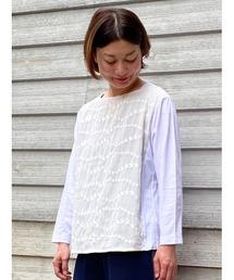 tシャツ Tシャツ コットンローンスターウェーブレース+天竺カットソー|ZOZOTOWN PayPayモール店