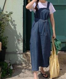ワンピース ジャンパースカート ウエストリボン付き デニム ジャンパースカート|ZOZOTOWN PayPayモール店