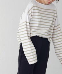tシャツ Tシャツ パネルボーダー ボートネック プルオーバーロンT ZOZOTOWN PayPayモール店