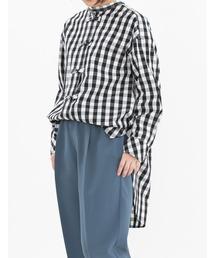 シャツ ブラウス ラージギンガムチャイナボタン シャツ|ZOZOTOWN PayPayモール店