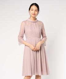 ドレス ロールカラー レース切替シフォンワンピースドレス|ZOZOTOWN PayPayモール店