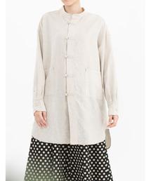 シャツ ブラウス ベルギーリネンチャイナボタンチュニックシャツ(unisex)|ZOZOTOWN PayPayモール店