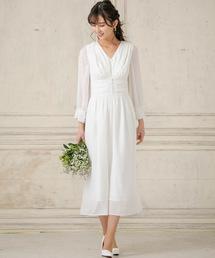 ドレス kaene/パフスリーブセミロングウェディングドレス|ZOZOTOWN PayPayモール店