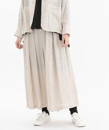 スカート リネンギンガムタックキュロットスカート|ZOZOTOWN PayPayモール店
