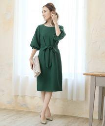 ドレス パフスリーブウエストリボンひざ丈のワンピースドレス|ZOZOTOWN PayPayモール店