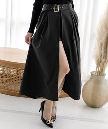 スカート ウエストベルト&ショートパンツ付きスリットロングスカート/20505|ZOZOTOWN PayPayモール店