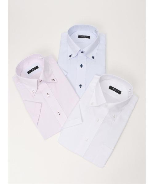 SALE WEB限定販売 タカキューメンズ TAKA-Q:MEN ボタンダウン半袖 格安 形態安定抗菌防臭レギュラーフィット ビジネスドレスシャツ3枚セット