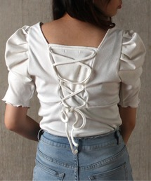 tシャツ Tシャツ バックレースアップギャザートップス|ZOZOTOWN PayPayモール店