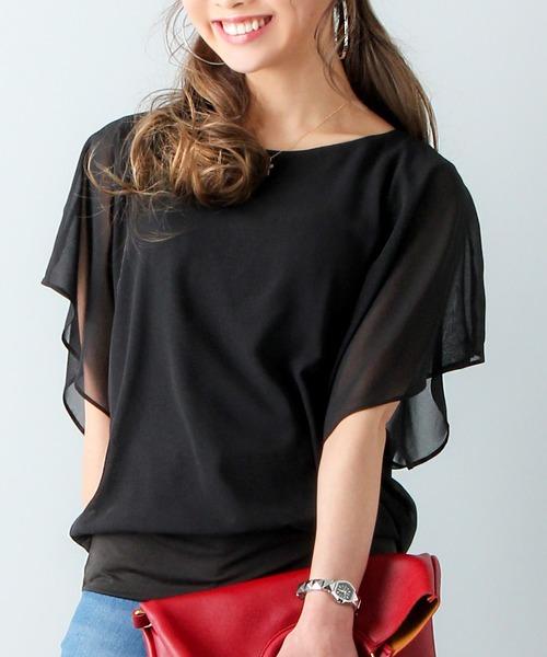 ◆セール特価品◆ お得クーポン発行中 tシャツ Tシャツ ふんわりスリーブトップス シフォン
