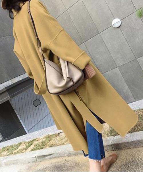 コート 売れ筋 チェスターコート サイドスリット 販売 オーバーサイズ ロングチェスターコート