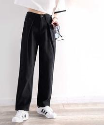 パンツ デニム ジーンズ 深めのタックが印象的なウエストタックハイウエストデニム&チノセミワイドパンツ|ZOZOTOWN PayPayモール店