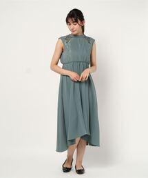 ドレス 刺繍トリミングショルダーシアーフィッシュテールワンピース|ZOZOTOWN PayPayモール店